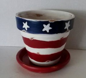 handpainted red, white and blue terra cotta pot