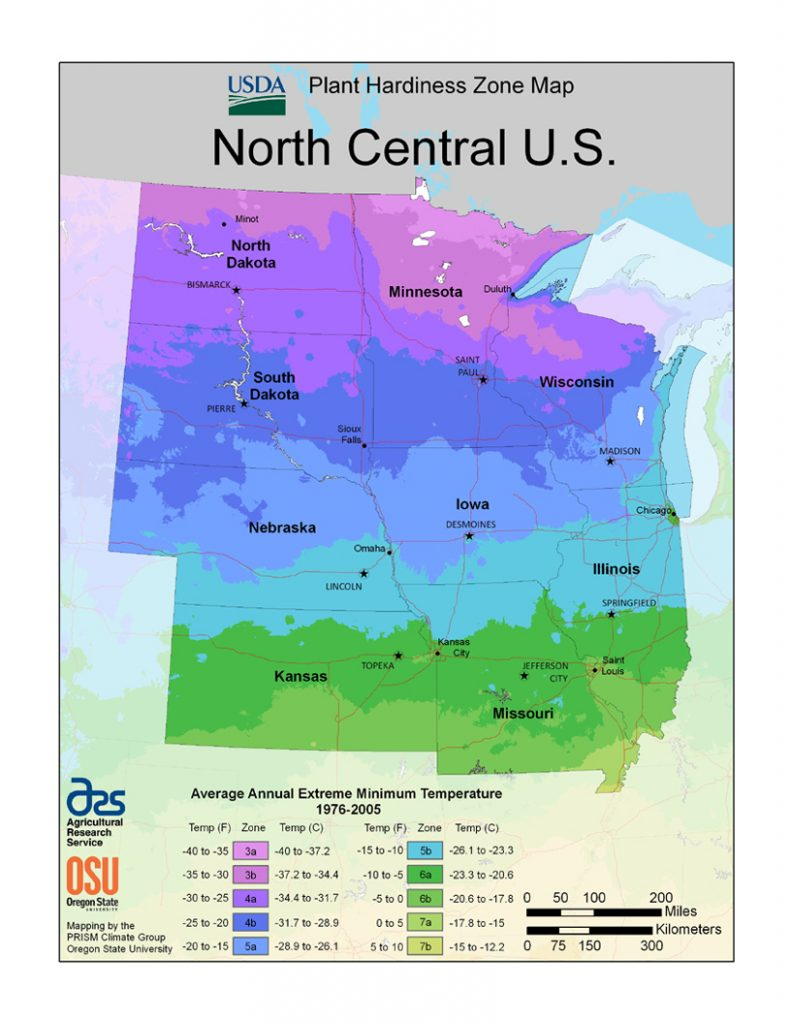 North Central Us Map.Usda Grow Zone Map North Central Us Garden Bite